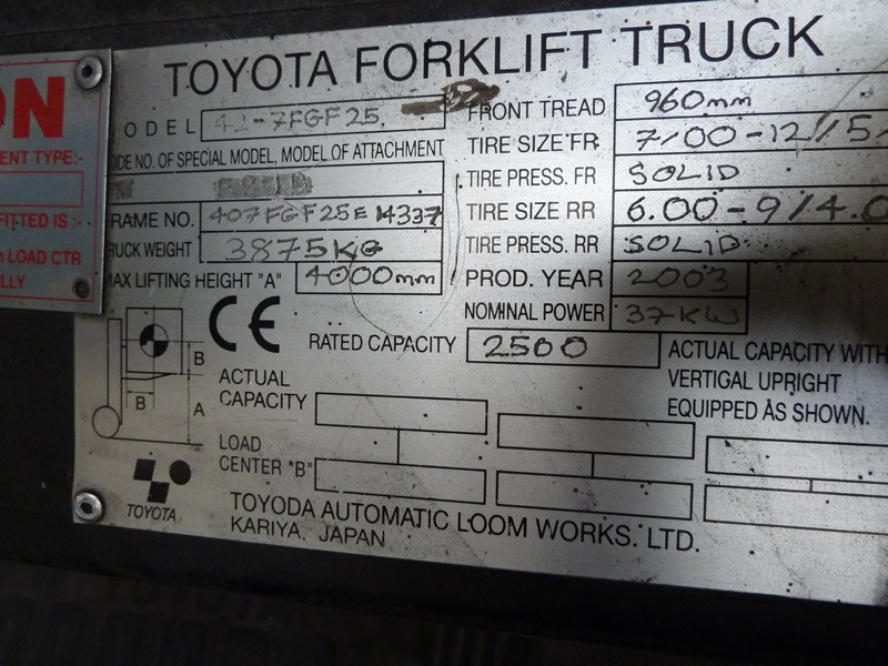 Toyota 42-7fgf25 photo - 1